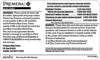 Medical Plan Id Cards Alaska Air Group Premera Blue Cross