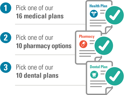 Pick a medical, pharmacy, dental plan