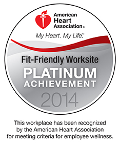 American Heart Association Fit-Friendly Company - Platinum Achievement 2014